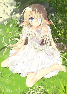 ✮ ANIME ART ✮ elf. . .elf girl. . .elf ears. . .long hair. . .bandages. . .eyepatch. . .nature. . .flowers. . .flower crown. . .fantasy. . .cute. . .moe. . .kawaii