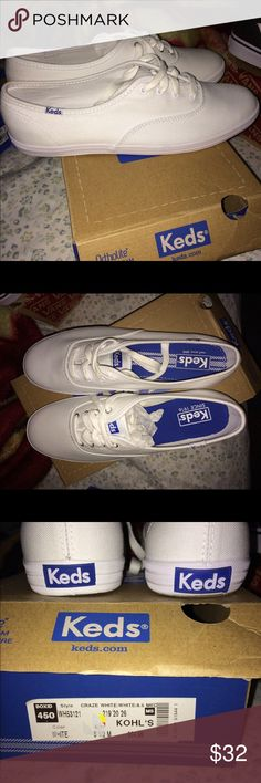 🆕 white KEDS!! KEDS comfort in this seasons hottest athletic shoes color; bright white!! Brand new in box. Bundle with other KEDS or anything else in my closet! Keds Shoes Athletic Shoes
