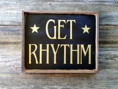 Rustic Wall Art and Signs, Country Music Home Decor, Western Style, Handmade Wood Sign, Black and Gold, Framed Wall Hanging