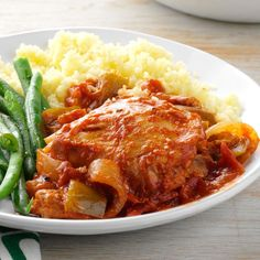 Garden Chicken Cacciatore Recipe -Here's the perfect Italian meal to serve company. While simmering, it frees you up to visit with your guests and always receives rave reviews! I like to serve it with hot cooked pasta, a tossed salad and a dry red wine. Mangia! —Martha Schirmacher, Sterling Heights, Michigan