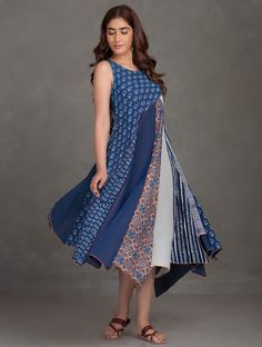 Buy Indigo Madder Ivory Block Printed Thread Embroidered Upcycled Organic Cotton Dress Online at Jaypore.com