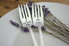 I Still Do, Me Too Wedding Cake Fork Set  - As seen in Inside Weddings Magazine - Hand Stamped - Vintage Wedding - Vow Renewal on Etsy, $33.00