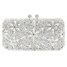 Natasha CoutureCrystal Flower Clutch ($298) ❤ liked on Polyvore featuring bags, handbags, clutches, silver, sparkly purses, flower handbag, round purse, white purse and flower purse