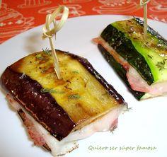 Calabacín y berenjena rellena de jamon y queso