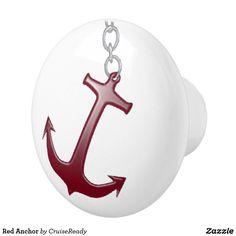 Shop Red Anchor Ceramic Knob created by CruiseReady. Nautical Bath, Ceramic Knobs, Bath Decor, White Ceramics, Christmas Bulbs, Diy Projects, Hardware, Anchors, Holiday Decor