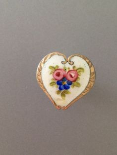 Antique Heart Shaped French Enamel Button w A Floral Design A Gilt Border