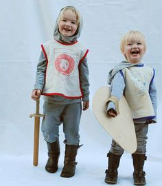 With the pattern for a 1970s art smock, Merilee from Mer Mag sewed her little boys a pair of knight costumes with wonderful – and adorable - hand-drawn emblems worthy of King Arthur's court. With easy additions like sweats, boots, and the all-important sword and shield for an old-fashioned (and friendly!) sword fight, your kids will also be fit for knighthood.