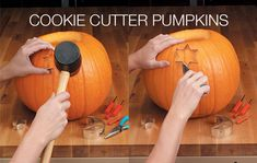 Carving Pumpkins with Cookie Cutters - Kid-friendly pumpkin decorating craft. Add a tea light or flameless candle so the pumpkin glows.