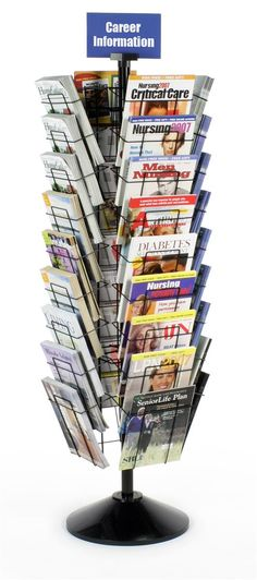 36-Pocket Wire Magazine Rack for Floor, Tiered, Rotating, with Header - Black