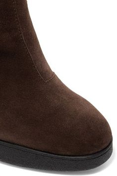 Tod's - Shearling-trimmed Suede Platform Ankle Boots - Brown