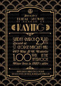 Great Gatsby Bridal Shower Invitation Digital file by blushlove, $8.00