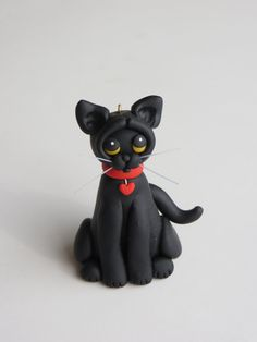 Christmas Ornament Polymer Clay Figure Black by HeartOfClayGirl, $12.50