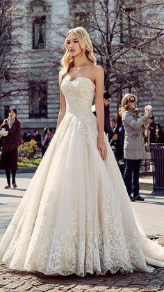 eddy k milano bridal 2017 sleeveless sweetheart lace ball gown wedding dress (md197) mv