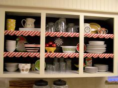 I love this idea..trace scalloped edges with a bowl on wrapping paper for shelves or hutches..