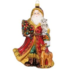 Woodland Santa With Deer And Owl Glass Ornament $31.99
