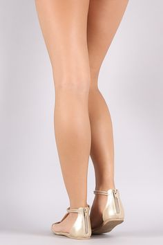Qupid Metallic Tube T-Strap Pointy Toe Flat