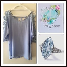 """Sky Blue Lace Crystal Knit Top  Stunning detailed lace sleeves with crystals & pearls at scoop neckline,  100% polyester- dry clean only  3/4 sleeve Chest 38"""" Center length back 25"""" Brand new with tags Many versatile items available, feel free to check out my closet!  3/11/16 Marineblu Tops Blouses"""