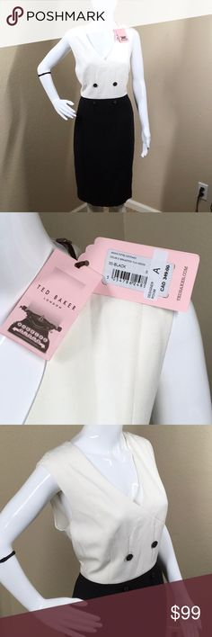 """NWT Ted Baker Double Breasted Tux Dress New with tags from Nordstrom.    Pair this menswear inspired double breasted tux dress with pumps and a leather tote for a chic professional look. - V-neck - Sleeveless - Back zip closure - Double breasted button details - Approx. 38"""" length - Imported Fiber Content Shell: 60% polyester, 33% viscose, 7% elastane Lining: 95% polyester, 5% spandex  Care Dry clean  Additional Info  Fit: this style fits true to size. 5=14 US. Ted Baker London Dresses Midi"""