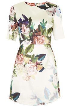 Blur rose print satin a-line dress