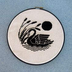 Black Swan Embroidery Needlework Wall Hanging Hoop by CinfulArt