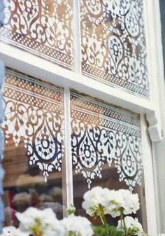 DIY window detail- spray paint over old lace. Decor - Could use stencils, too. Old Windows, Spray Snow On Windows, Porch Windows, Cottage Windows, Farmhouse Windows, Front Windows, Shop Windows, Home And Deco, Window Treatments