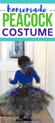 You are going to love the detailed step by step directions on how to make pretty Homemade Peacock Costume. And it's easier to make than you might think! We combined an easy to make tulle tutu skirt with a peacock feather bustle for this super beautiful girl's handmade peacock costume. #HandmadePeacockCostume #HomemadePeacockCostume #forgirls
