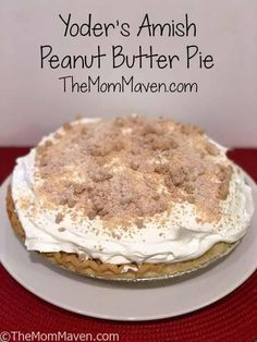 Yoder's Amish Peanut Butter Pie is a classic, light pudding pie with peanut butter crumbles. It is a perfect treat for the whole family.