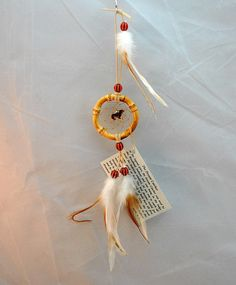 Small Handmade Natural Dreamcatcher with a Dachshund dog, 2 inch, Car Dreamcatcher by OriginalsByCathy on Etsy