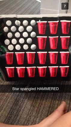 Ping Pong Balls and Solo Cups make the American Flag USA Star Spangled Hammered Frat Cooler