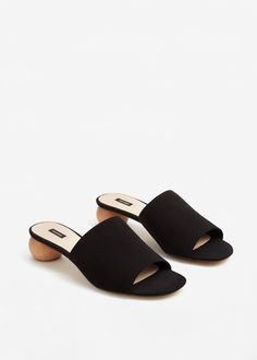 Wooden leather sandals - Women | MANGO USA