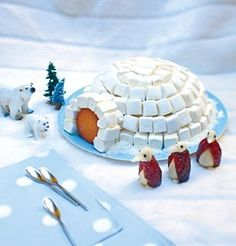 marshmallow igloo. Use a styrofoam bowl and marshmallows Maybe sugar cubes to line the door and a vanilla wafer for the door. Put on a blue piece of construction paper.