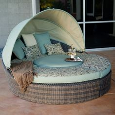 Rendezvous All-Weather Wicker Reversible Cushion Sectional Daybed - Patio Chairs at Patio Furniture USA