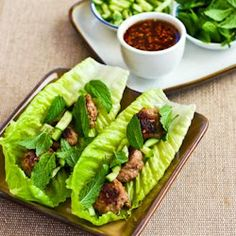 Thai Turkey Meatball Lettuce Wraps...Made these last night for my neighbors and everyone loved them! {Me too!}