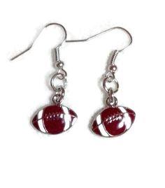 Buy Football Earrings Football Mom Jewelry School Spirit by sherrollsdesigns. Explore more products on http://sherrollsdesigns.etsy.com