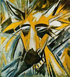 Mikhail Larionov (Russian 1881–1964), Russian avant-garde painter. Head of a Bull, 1912.