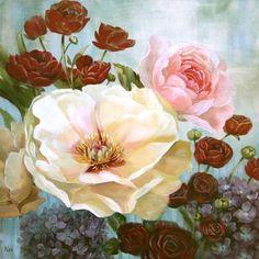 Nan-June-Celebration-I-Fertig-Bild-50x50-Wandbild-Blumen-Garten-Deko-bunt
