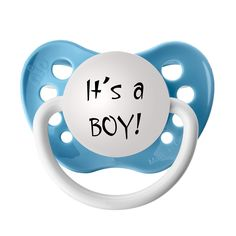 Gender Reveal Pacifiers - It's a BOY!  Announce the baby's gender in a fun way that includes a special Keepsake for all of your party guests!  Each pacifier comes packaged in a beautiful organza gift bag. Available gift bag colors are Blue or Ivory. Available in multiple quantities for your convenience, buy more and SAVE!
