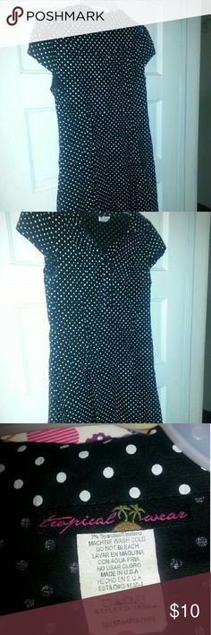 Cute polka dot dress..in vintage style Button front plus zippered side tropical wear Dresses Midi