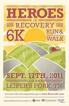 Heroes in Recovery 6k Leipers Fork, TN Event Poster