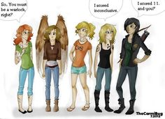 "I will be Clary! (Could I please have the other 4?) ""So. You must be a warlock, right?"" I say as I point at her wings"