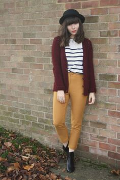 jumper, cardigan, trousers & boots - topshop, hat - h&m oh hello all-topshop outfit. Pretty Clothes, Pretty Outfits, Topshop Outfit, Red Cardigan, Too Cool For School, Autumn Winter Fashion, Fashion Inspiration, Trousers, Fat