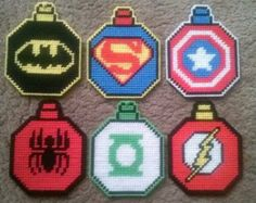 Superhero Inspired Plastic Canvas Ornament Set Pattern