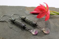 Viking knit Droplet earrings Sterling Silver and by Abbyjewellery