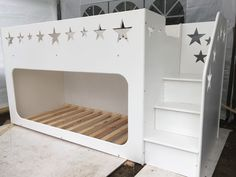 MDF bunk bed, star cut out design with stairs. Accommodates 2 standard size single mattresses.  LATEST CREATION OF CASTLE BUNK BED WITH STAIRS IN WHITE AND PINK  (not readily available, custom build). | eBay!