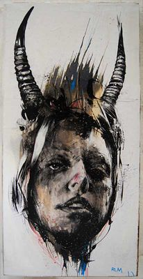 ORYXIUM 3-6 BY RUSS MILLS Ink, bleach, crayon, enamel, varnish and pencil.