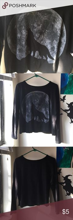 Wolf Moon Long Sleeve Crop Top Lightweight crop top with a full moon and wolf design. Size medium, fits comfortably. Only worn a couple of times, but suffers a few dark yellow paint stains from an incident with my cat. Tops Crop Tops