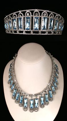 Replica of the aquamarine and diamond kokoshnik and necklace of Tsarina Alexandra. The original pieces were made in 1900, and purchased by Wartski in Russia in the late 1920s. Currently ownership of the original pieces is unknown.