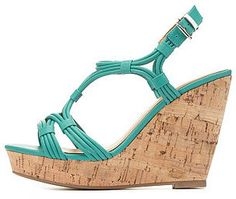 Charlotte Russe Strappy Cork Platform Wedges on shopstyle.com