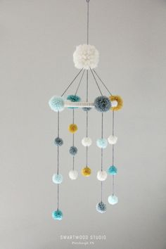 Baby Pom Mobile in Aquas and Light Mustard by SwartwoodStudio