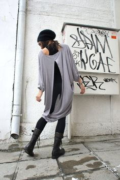 Free Shipping/ Spring Loose Oversized Maxi Grey Tunic / by Aakasha, $72.00